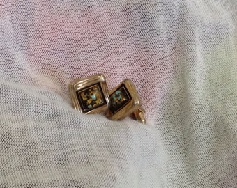 Unique Vintage Gold Resin Cuff Links