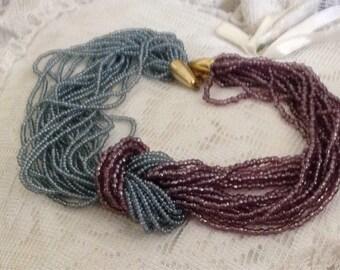 Retro Blue Purple Swag Bead Necklace