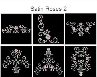 Satin Roses 2 Heirloom Flower Machine Embroidery Designs Instant Download 4x4 hoop 10 designs APE1515