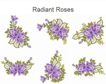 Radiant Roses Flowers Machine Embroidery Designs Pack Instant Download 4x4 5x5 6x6 hoop 15 designs SHE318