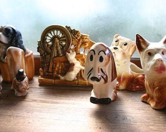 Lot of Dog Ceramics Including McCoy Planter. Dog Planter. Dog Vase. Gift For Dog Lover. Scottish Terrier. Cocker Spaniel. American Bulldog.