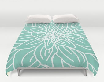 Modern Flower Duvet Cover - Mint Green  - Queen Size Duvet Cover - King Size Duvet Cover