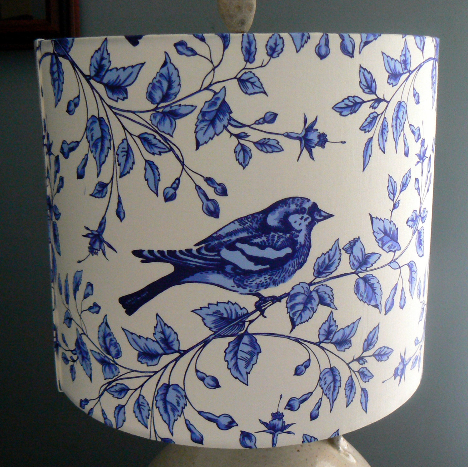 Bird Lamp Shade: Blue And White Bird Lamp Shade Bright Fresh By LiteandShadow