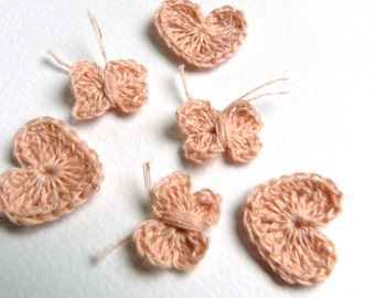 Crochet appliques, small wedding favor, set of 30, 10 butterflies,10 hearts,10 bows,pink,green,brown,blue,red,yellow,lavender,natural linen