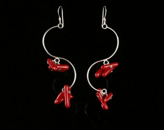 S A L E  Long Sterling Silver Earrings with Red Coral
