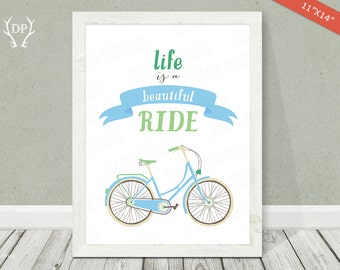 Blue Bicycle Ride | Print art | Nursery wall art | Life is a beautiful ride | Printable | Baby boy blue room decoration