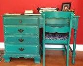 SAMPLE PIECE - Vintage Emerald Solid Wood Desk
