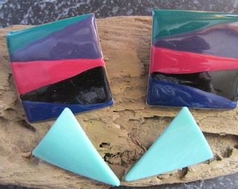 Vintage 1980's Earrings Geometric Chunky Fun Shapes