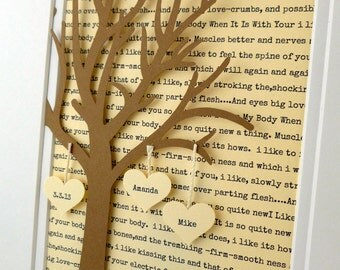 Personalized Anniversary / Wedding Gift - 3D Paper Tree with Hearts - 1st Anniversary Gift- Paper Anniversary