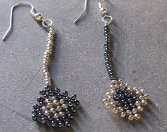 silver beads and earrings Hematite