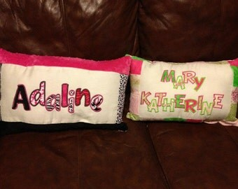 Appliqued name pillow