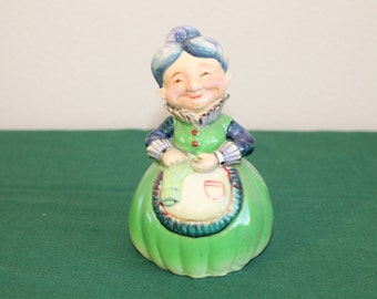 Blue-Haired Granny Figurine - Knitting Grandma - Kitsch