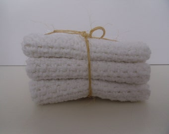 11 inch square 100% cotton white crocheted wash cloths set of 3
