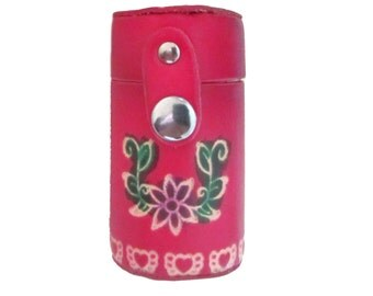 Pill Holder Keychain - Secret Stash - Red Leather Stash Canister Key Chain - Jewelry for your Keys - Embossed Leather  - Item #2164