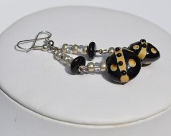 Long Black Earrings, Lamp work Beads, Statement Earrings, Long Earrings, Fun Jewelry, Hand Blown Beads