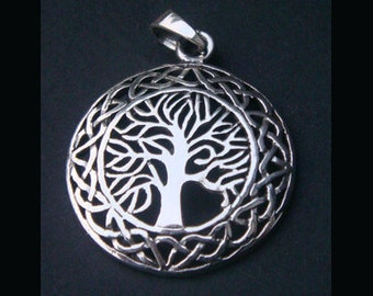 Tree of Life Necklace: 925 Sterling Silver Celtic Design Tree of Life Necklace with 25mm Convex Shape Polished Tree of Life Pendant TOLP025