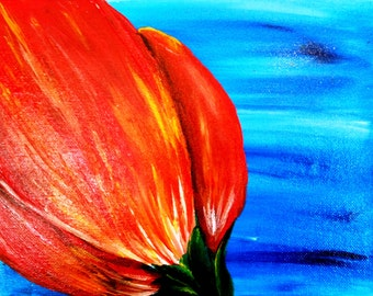 Small 8 x 10 flower acrylic painting on canvas board