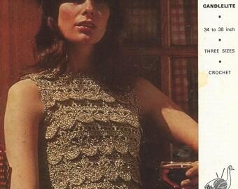 ladies summer top  crochet summer wear  for ladies vintage pattern PDF instant download