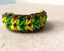 Brown, Yellow, and Lime Totem Pole Rainbow Loom Bracelet - Gifts Under 15  - Unisex Jewelry