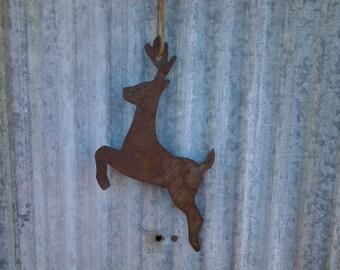 Reclaimed Barn Tin Deer Ornament
