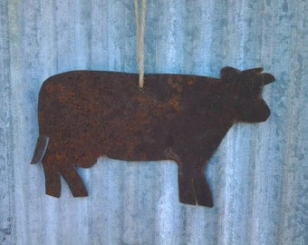 Reclaimed Barn Tin Cow Ornament