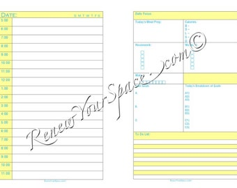 Printable Focus Sheet (Yellow with Blue Font) - Day on Two Pages Half Letter