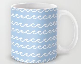 Ocean Waves Ceramic Coffee Mug 11 oz or 15 oz, microwave dishwasher safe coffee cup, pastel blue beach large coffee mug