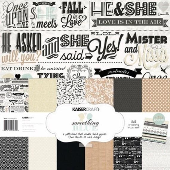 12x12 Paper Pack 12 Wedding Scrapbook Papers (6 designs x 2) + bonus Sticker Sheet