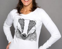Badger Wildlife Art Original Line Drawing Illustration Womens Ethically Produced Cotton Long Sleeve T-Shirt Top. White Or Grey.