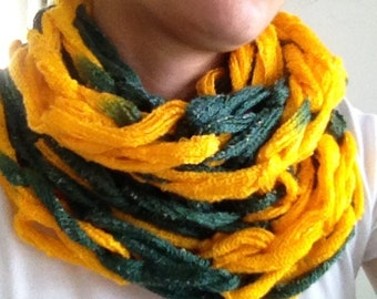 Green Bay Packers Scarf // Arm-Knit Green and Gold Shimmer Infinity Scarf // Baylor Scarf // Alaska Scarf // Oregon Scarf // Timbers Scarf