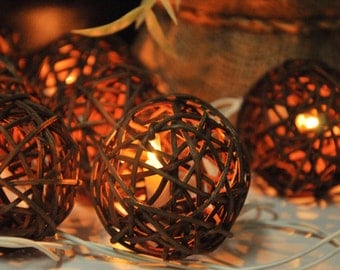 20 Brown Rattan Ball String Lights for Party Wedding and Decorations