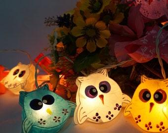 20 Handmade Owls paper lantern string lights kid bedroom light display garland decorations