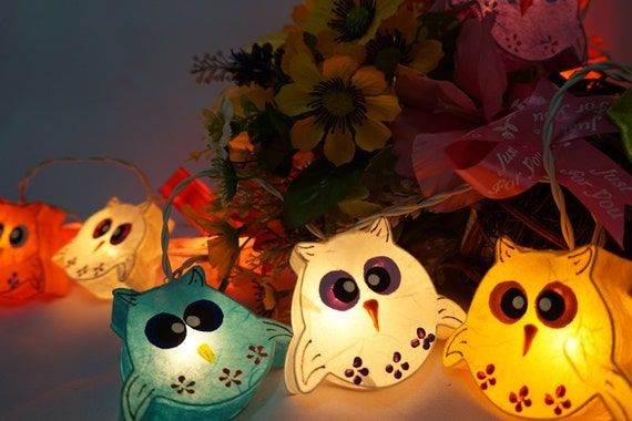 Paper Lantern String Lights Bedroom : 20 Handmade Owls paper lantern string lights kid bedroom light