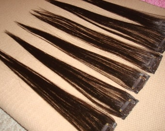 "18"" Colorful Dark Brown Human Hair Clip In Extensions for Highlights"