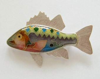 Cloisonne'  Fish - Enamel Fish - Yellow Bass Brooch / Pendant - chain not included - made to order.