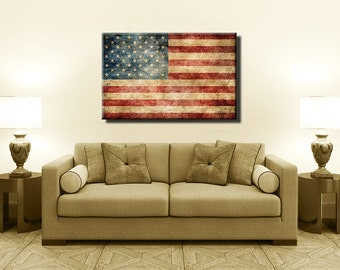 Most Popular Vintage American Flag,Canvas Print,Flag Poster,Vintage Print, Kitchen Art, Home Decor,Nature Print,Antique Wall Art[PXCF0029-C]