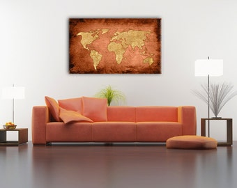 Bronze Color World Map Gift Ideas Boys Room Home Decor Vintage