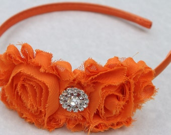 Orange flower girl headband, Orange headbands, plastic headband, satin toddler headband, orange hard headband, orange vintage headband