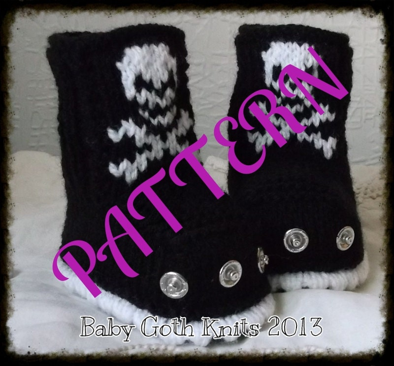 Cap Knitting Patterns : Baby Goth Knits Studded Skull Boots PATTERN PDF download
