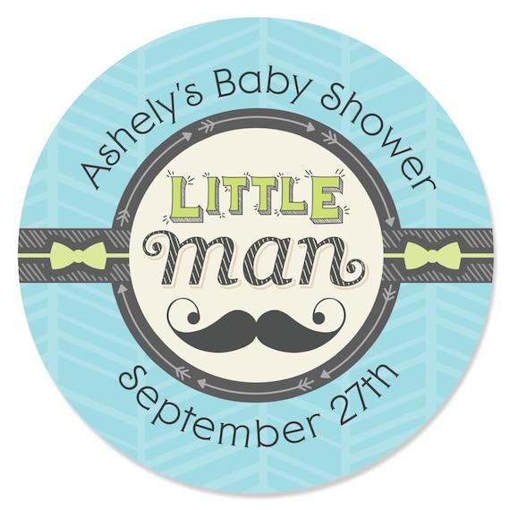 Baby Shower Mustache Theme: 24 Custom Dashing Little Man Mustache Party Circle