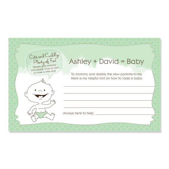 Baby shower advice cards 18 personalized helpful hints cards