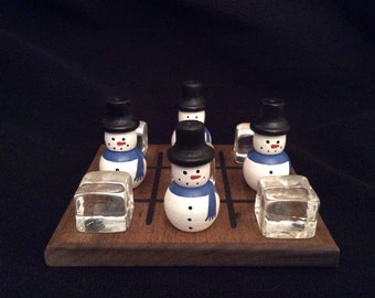 SNOWMEN (blue scarf) and ICE CUBES Tic-Tac-Toe