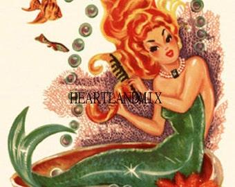 Mermaid grooming herself Vintage Digital Image Download Printable Bathroom Wall Art