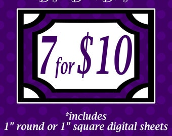 Bulk Deal - 1 inch round or 1 inch square Digital Graphics Sheet - Choose 7 Sheets for 10 dollars