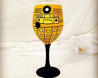 Robot Alien (Dalek) Inspired Hand Painted Wine Glass.