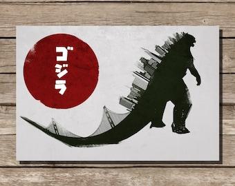 Godzilla movie poster monster movie print movie art movie poster design