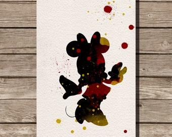 Minney Mouse disney watercolor illustrations art children's room wall art art home decor nursery art
