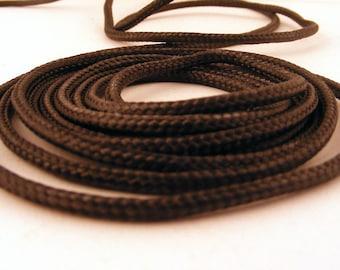 "Black Braided Cord 3 mm Nylon Vegan 87"" 2.2 Meters 1 Piece"