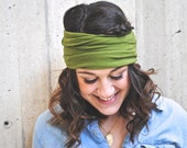 Green extra wide stretch yoga boho headband.