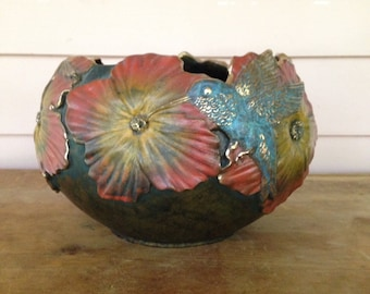Hibiscus Hummingbird Bowl Created by Cesar G Alarcon Bronze 1993 Vintage Decorative Bowl Number 266 of 1200